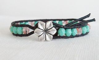 Beaded Leather Bracelet Boho Bohemian Chic